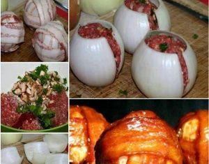 Cebolas Recheadas Com Carne E Bacon
